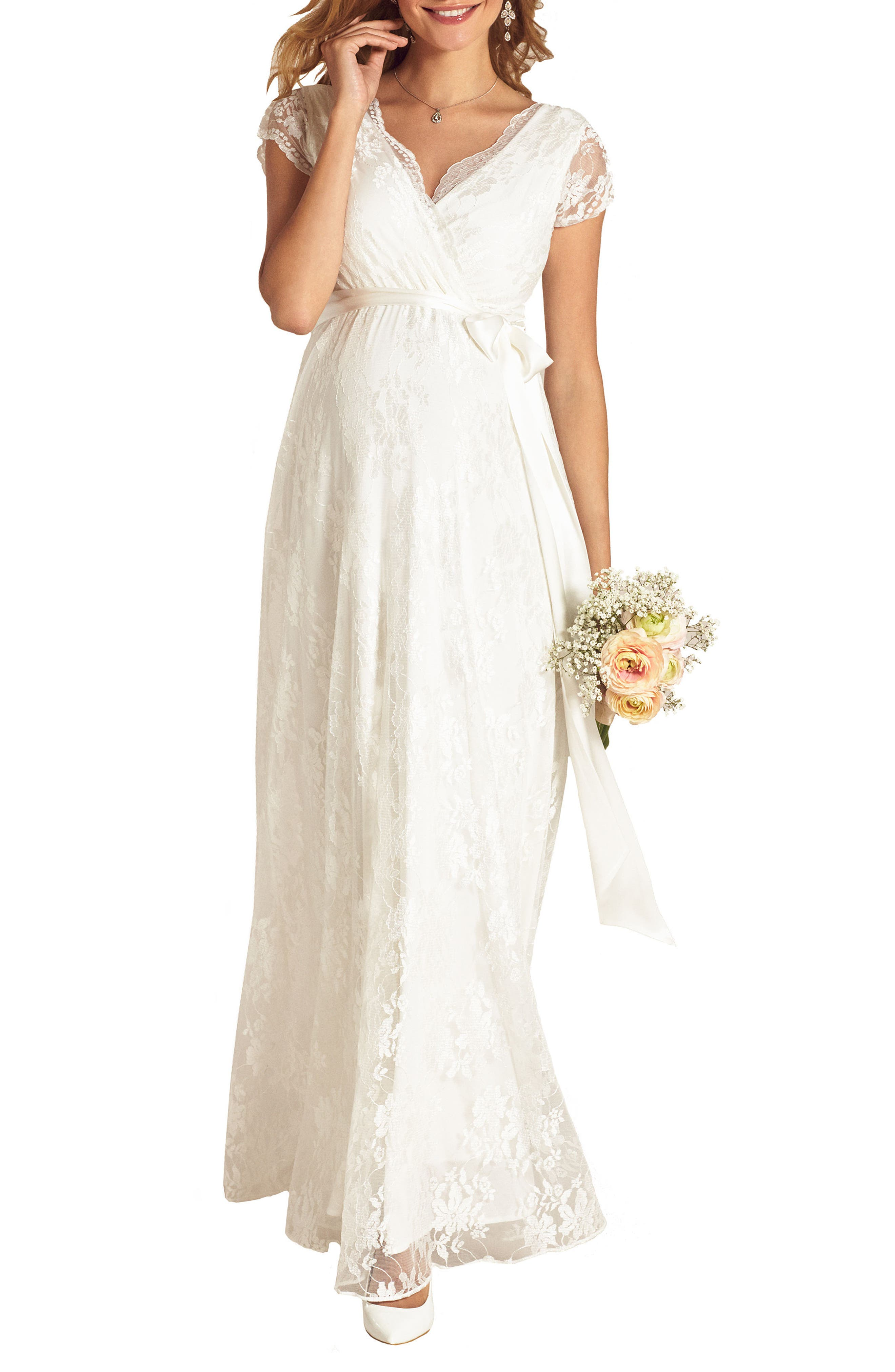 Tiffany Rose Eden Lace Maternity Gown, White