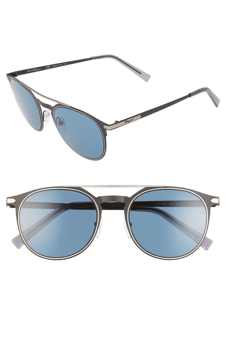 SALVATORE FERRAGAMO Classic 52mm Round Sunglasses, Main, color, MATTE BLACK