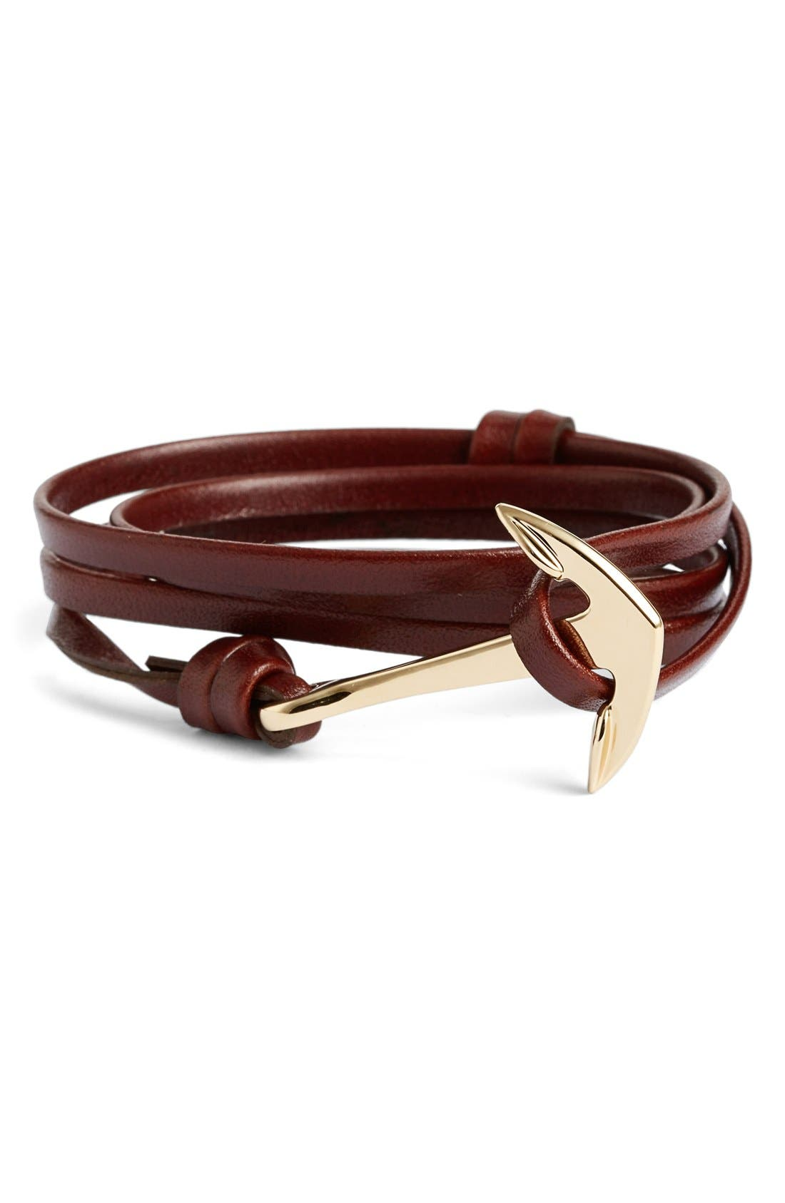 ,                             Gold Anchor Leather Bracelet,                             Main thumbnail 7, color,                             211