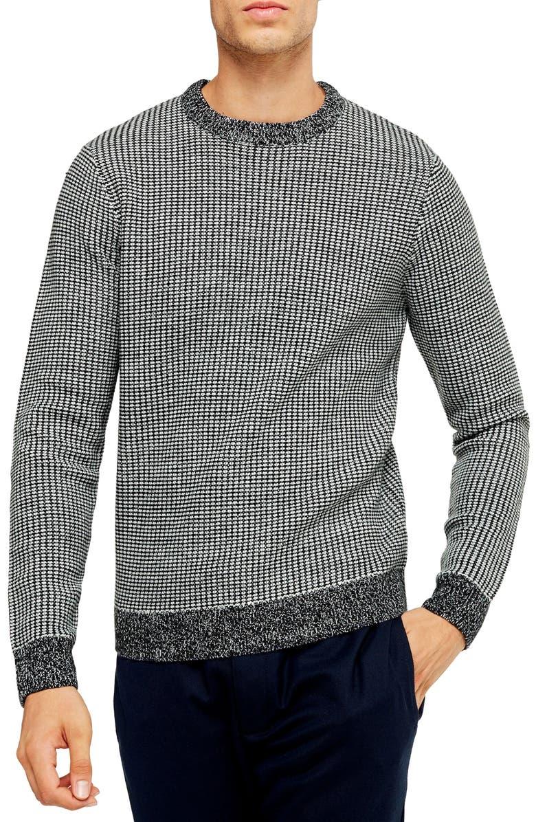 TOPMAN Classic Fit Bird's Eye Crewneck Sweater, Main, color, NAVY BLUE