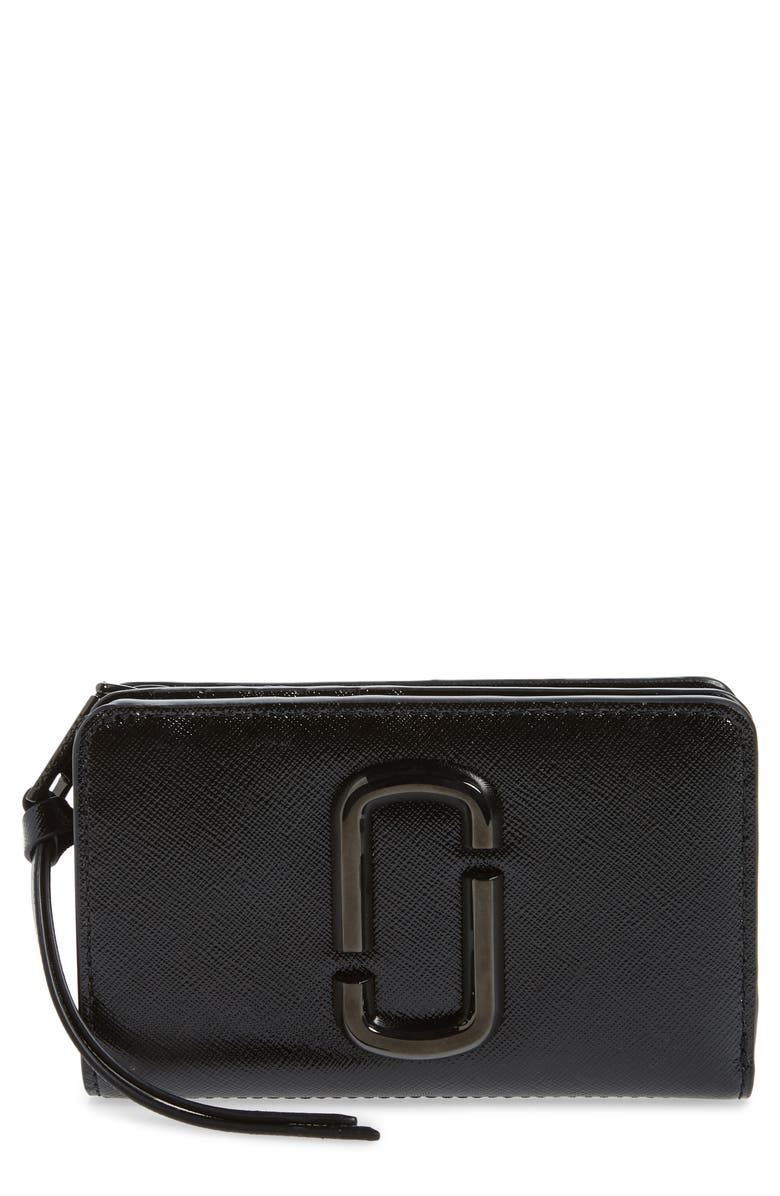 MARC JACOBS Snapshot Compact Leather Wallet, Main, color, BLACK