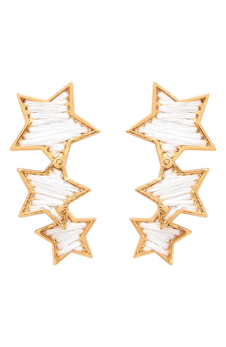 MIGNONNE GAVIGAN Triple Star Earrings, Main, color, WHITE/ GOLD