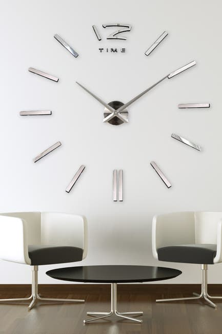 Image of WalPlus 3D Giant Vinyl Silver Clock Decal with Clock Mechanism