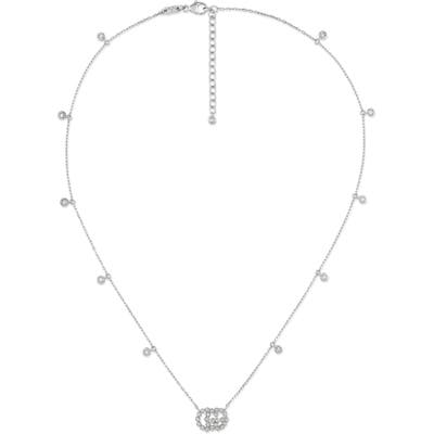 Gucci Gg Running Diamond Pendant Necklace