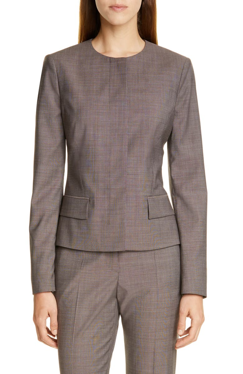 BOSS Jamaren Terra Mélange Collarless Virgin Wool Jacket, Main, color, 200