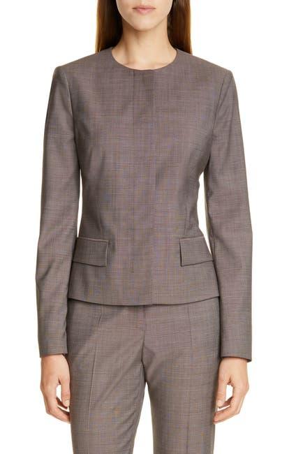 Image of BOSS Jamaren Terra Melange Collarless Virgin Wool Jacket