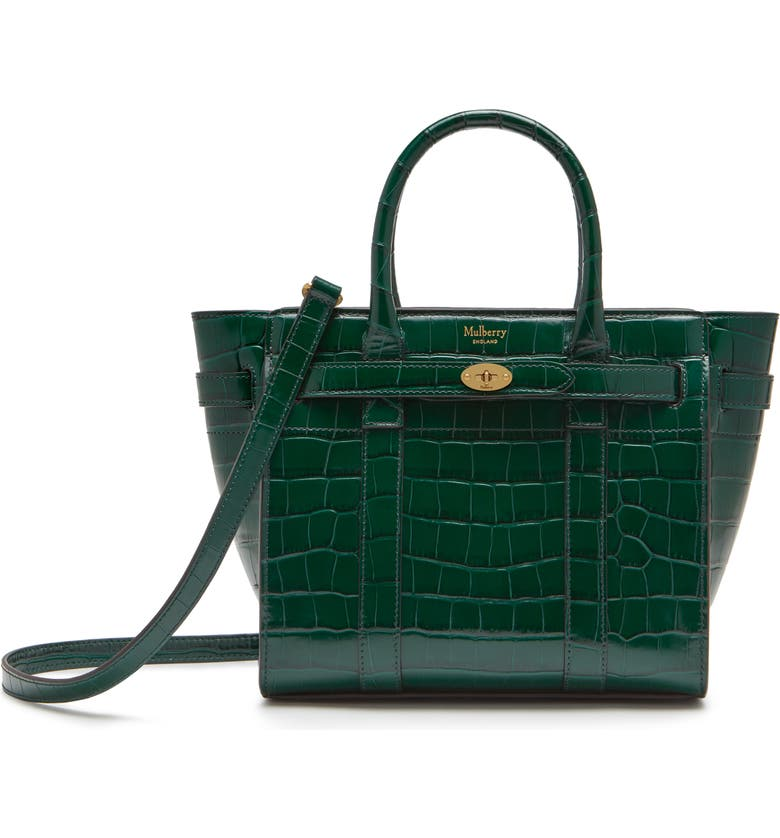 MULBERRY Mini Zipped Bayswater Croc Embossed Leather Satchel, Main, color, JUNGLE GREEN