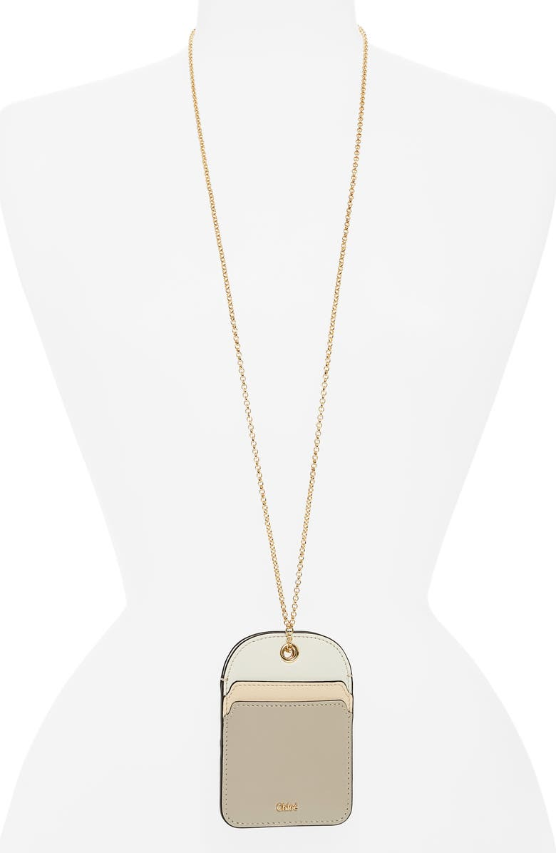 CHLOÉ Walden Leather Card Holder on a Chain, Main, color, PASTEL GREY