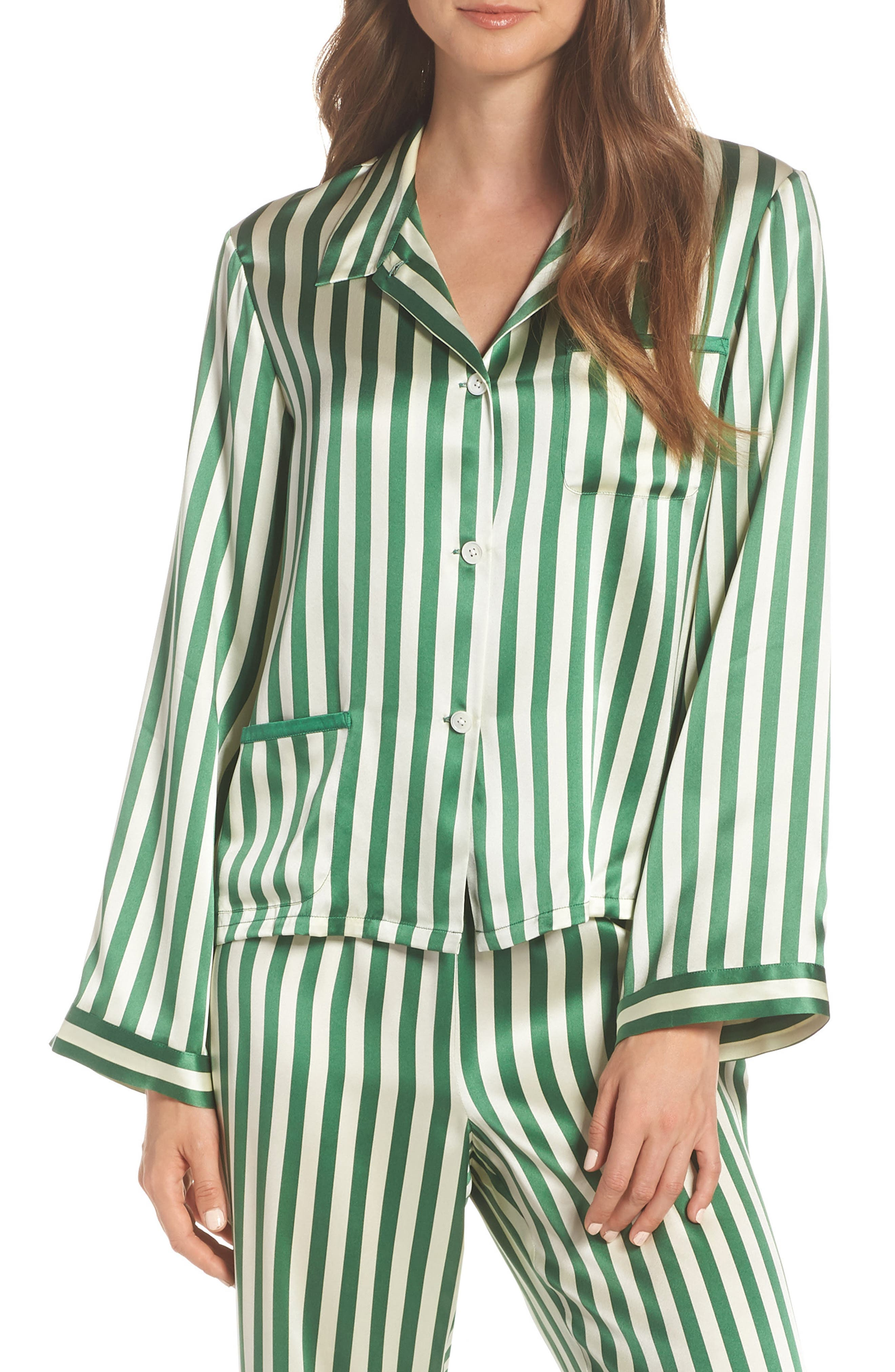 Morgan Lane Ruthie Silk Stripe Pajama Top, Green