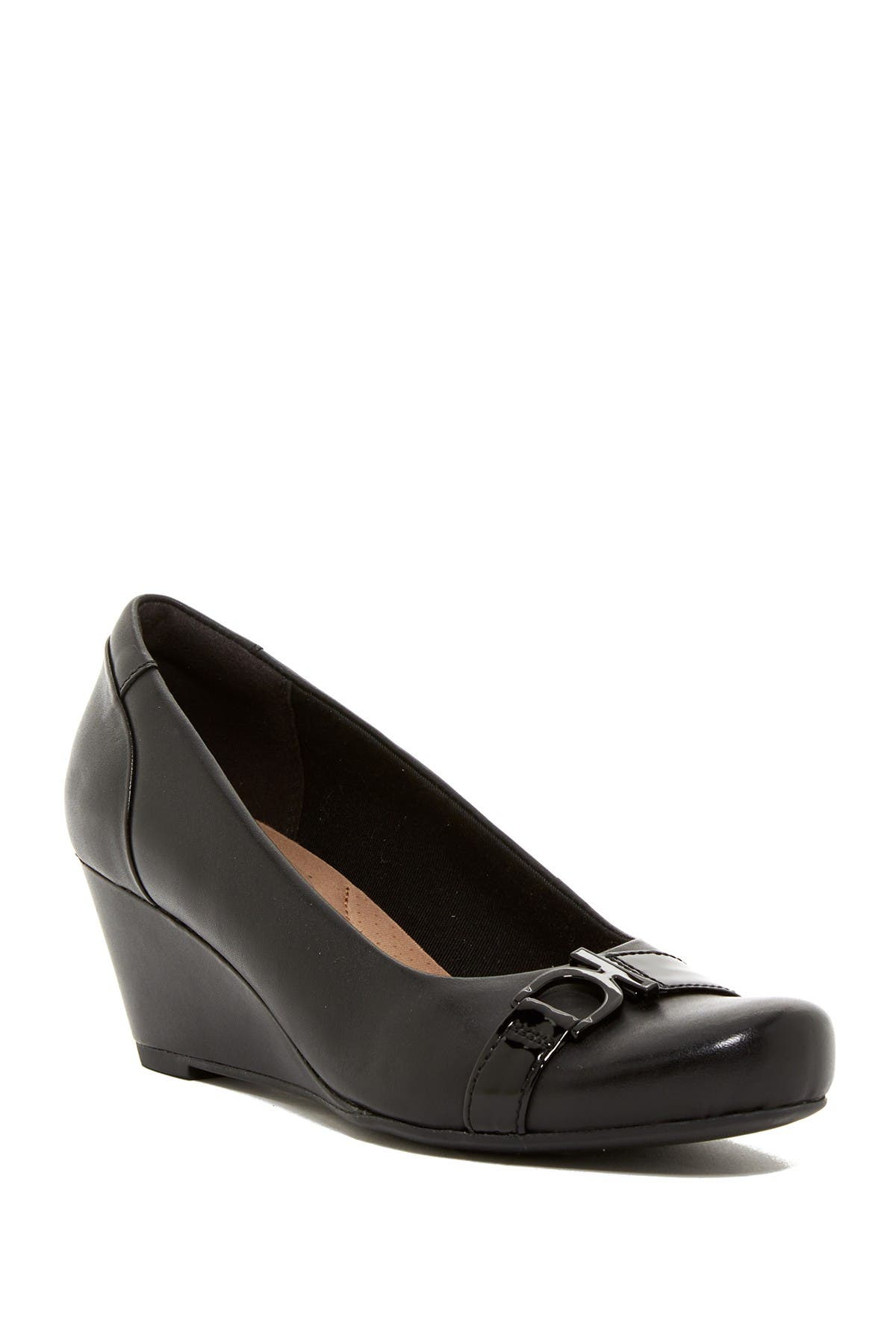 Image of Clarks Flores Poppy Wedge Pump - Wide Width Available