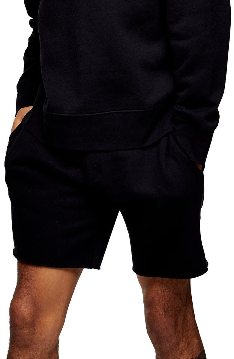 TOPMAN Skinny Fit Drawstring Knit Shorts, Main, color, 001