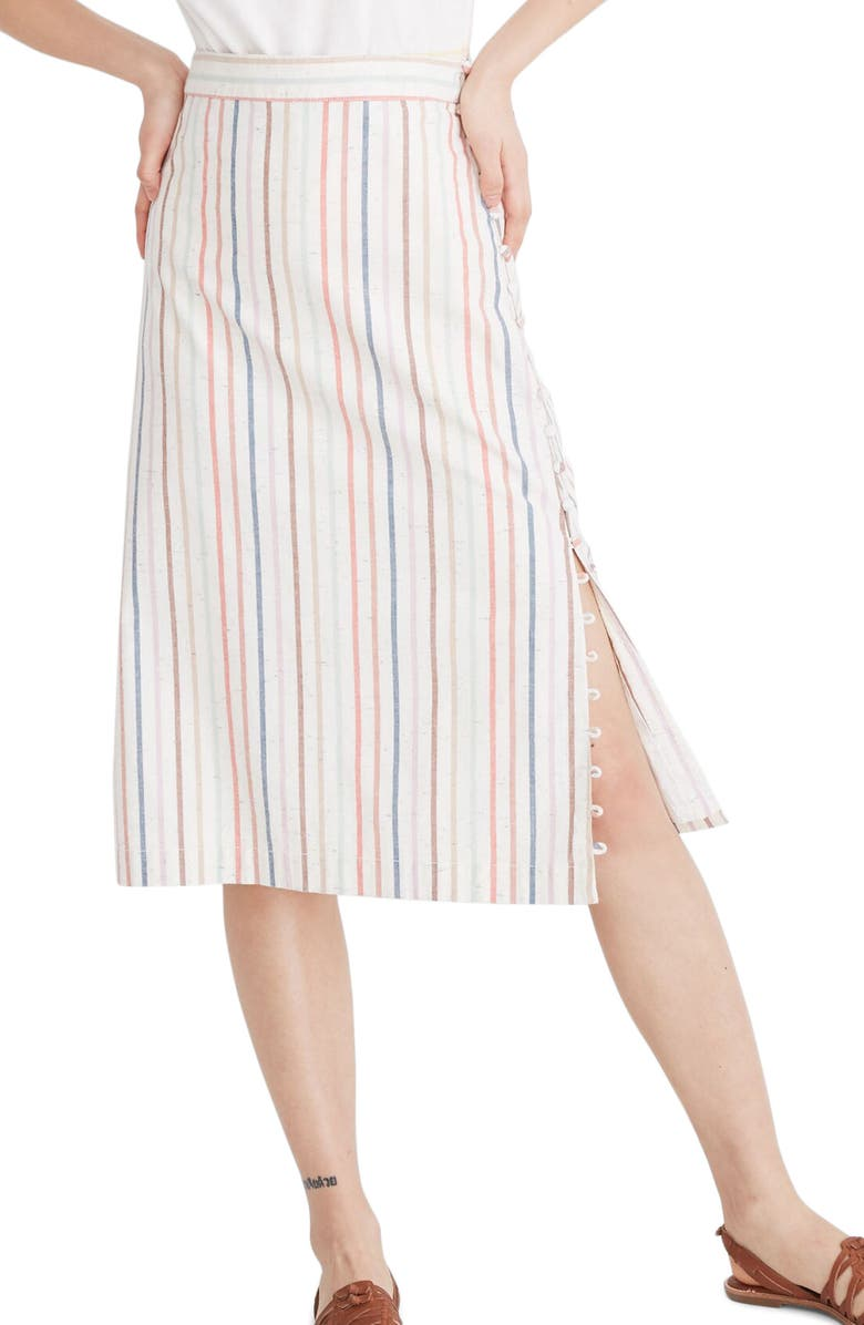 MADEWELL Flecked Rainbow Stripe Button Slit Midi Skirt, Main, color, NEBS STRIPE PEARL IVORY