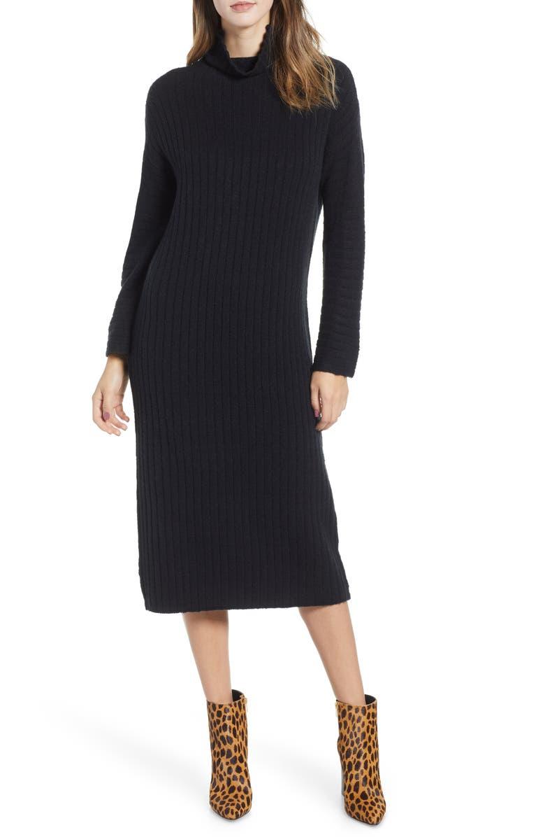 LEITH Rib Midi Sweater Dress, Main, color, 001