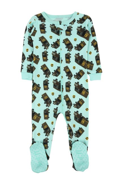 Image of Leveret Aqua UPS Footed Sleeper Pajama