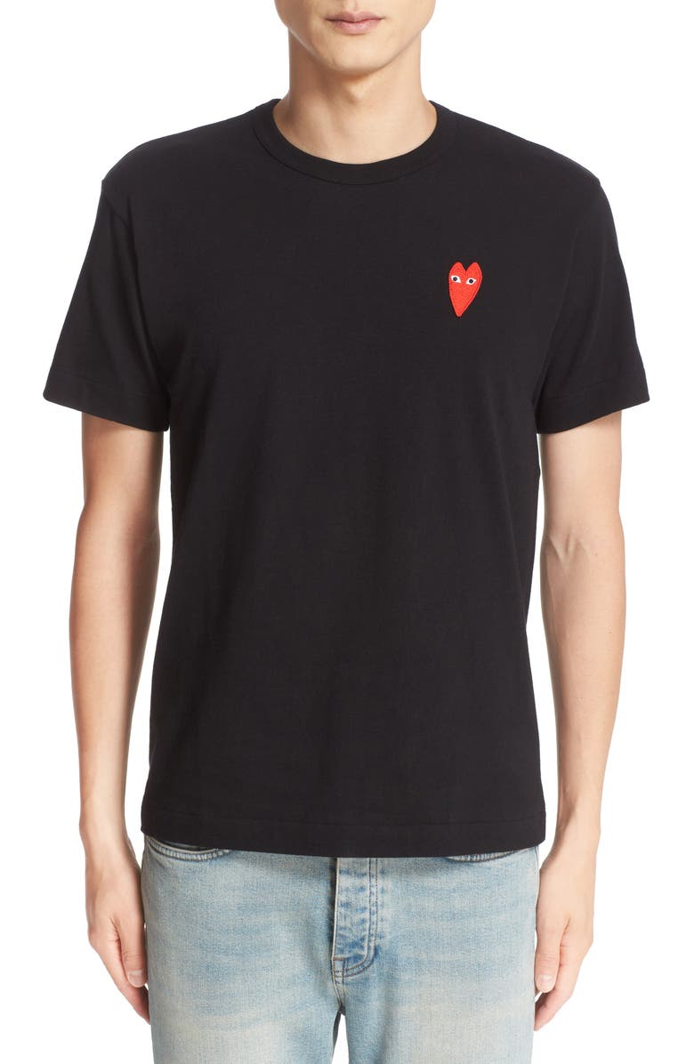 COMME DES GARÇONS PLAY Stretch Face Heart Slim Fit T-Shirt, Main, color, 001