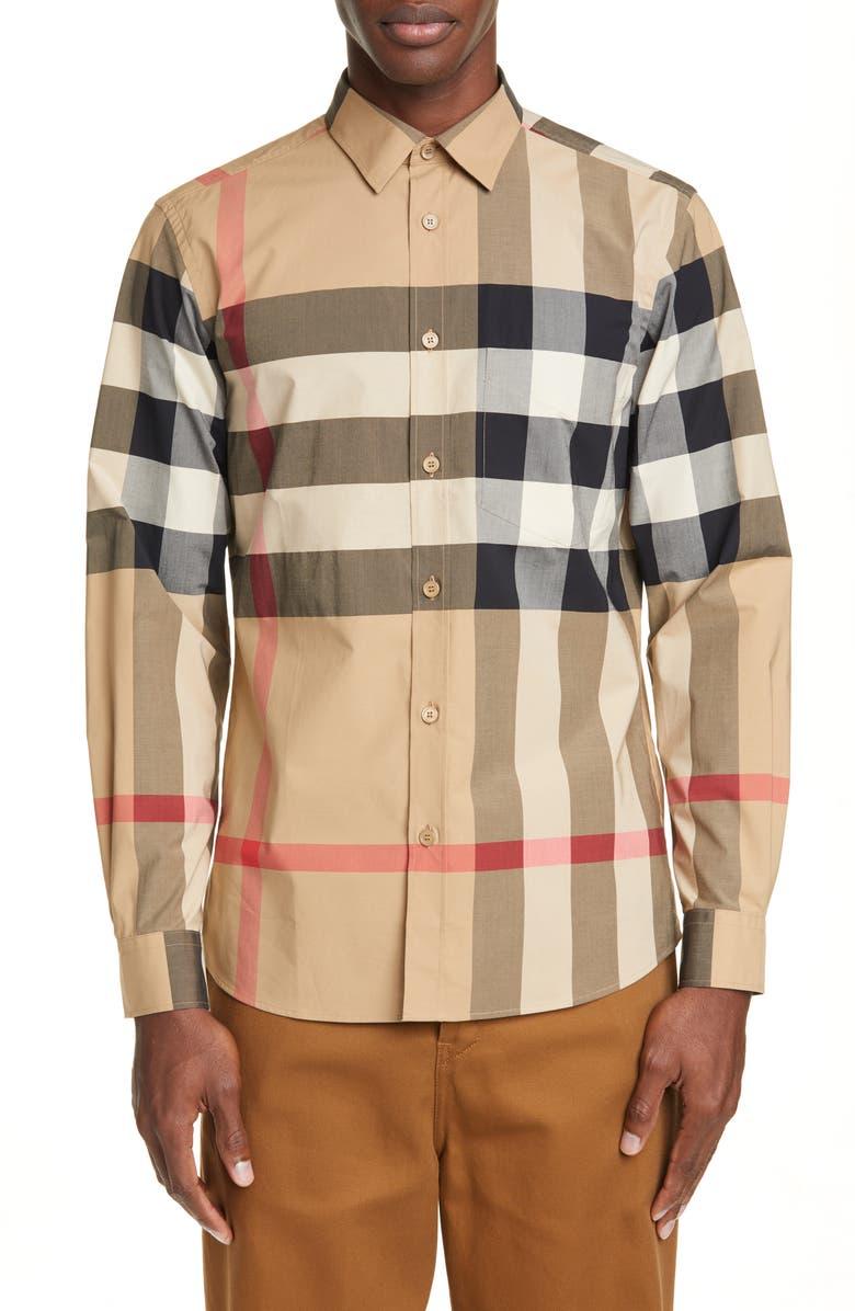 BURBERRY Somerton Plaid Button-Up Shirt, Main, color, CAMEL