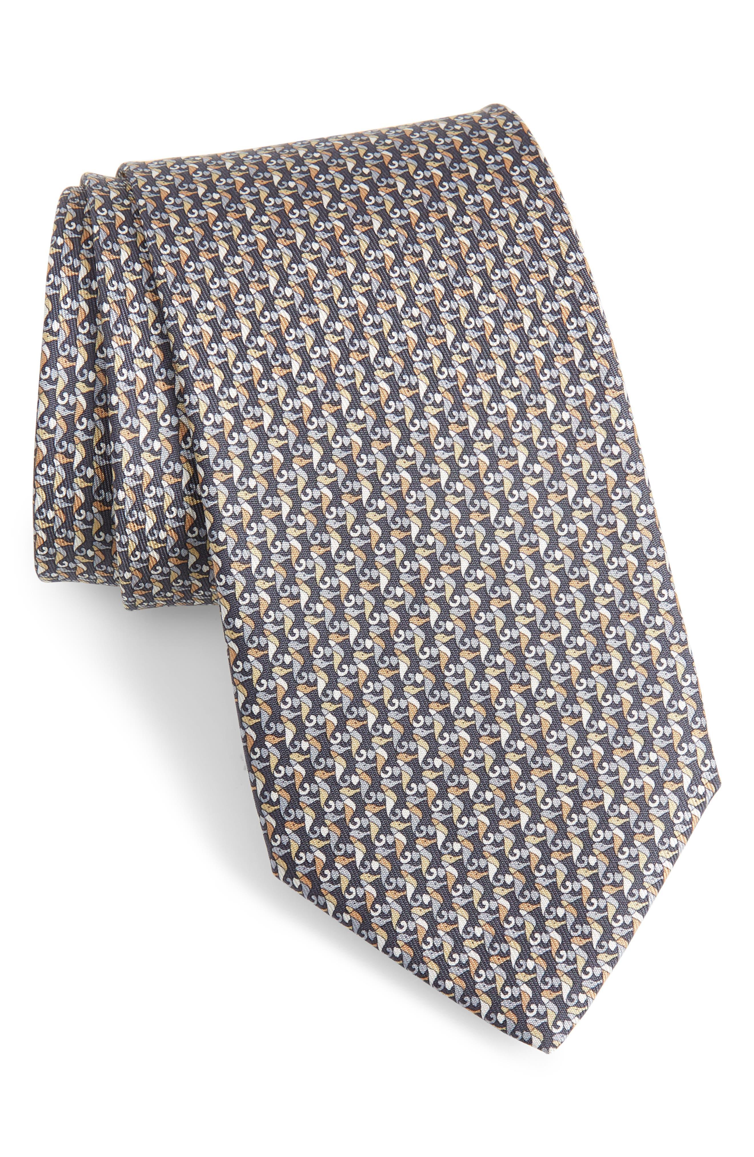 Seahorse Silk Tie, Main, color, FUMO