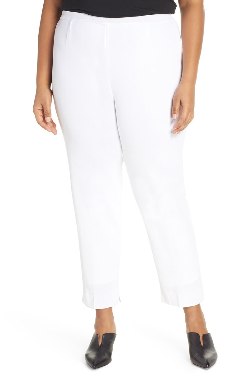 MING WANG Knit Ankle Pants, Main, color, WHITE
