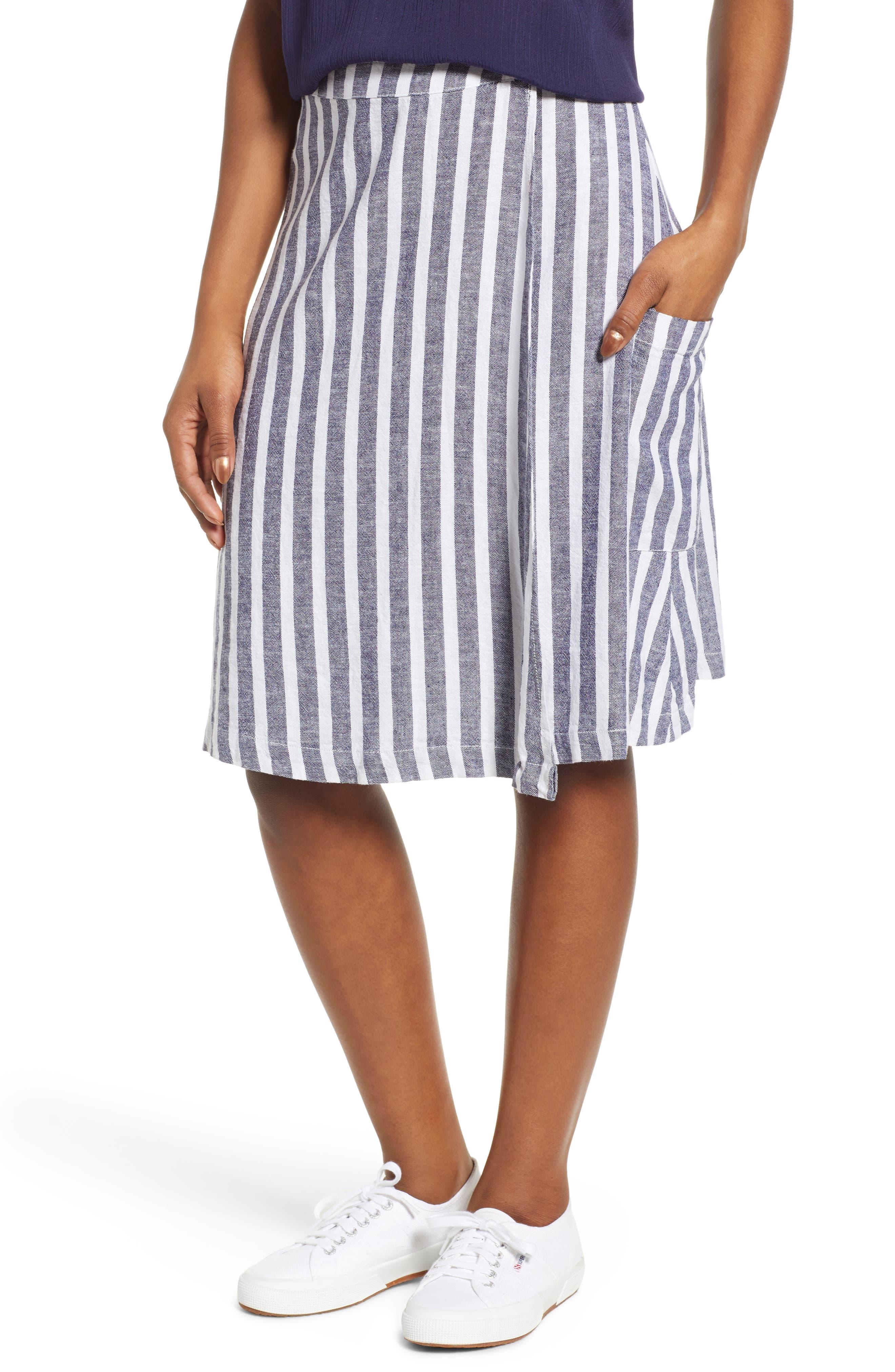 Caslon Stripe Linen Blend Wrap Skirt, Blue