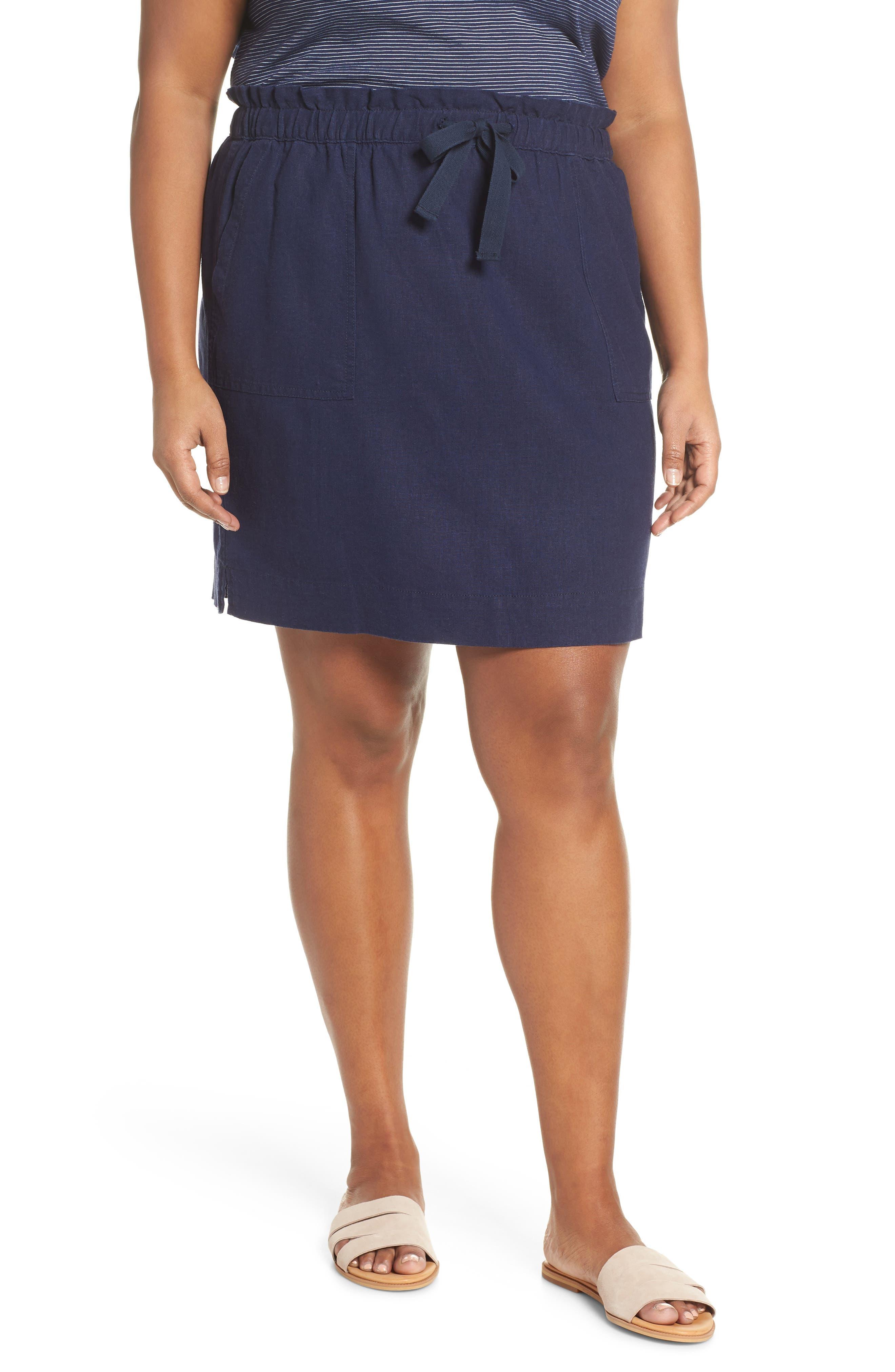 Plus Size Caslon Paperbag Waist Linen Blend Skirt, Blue