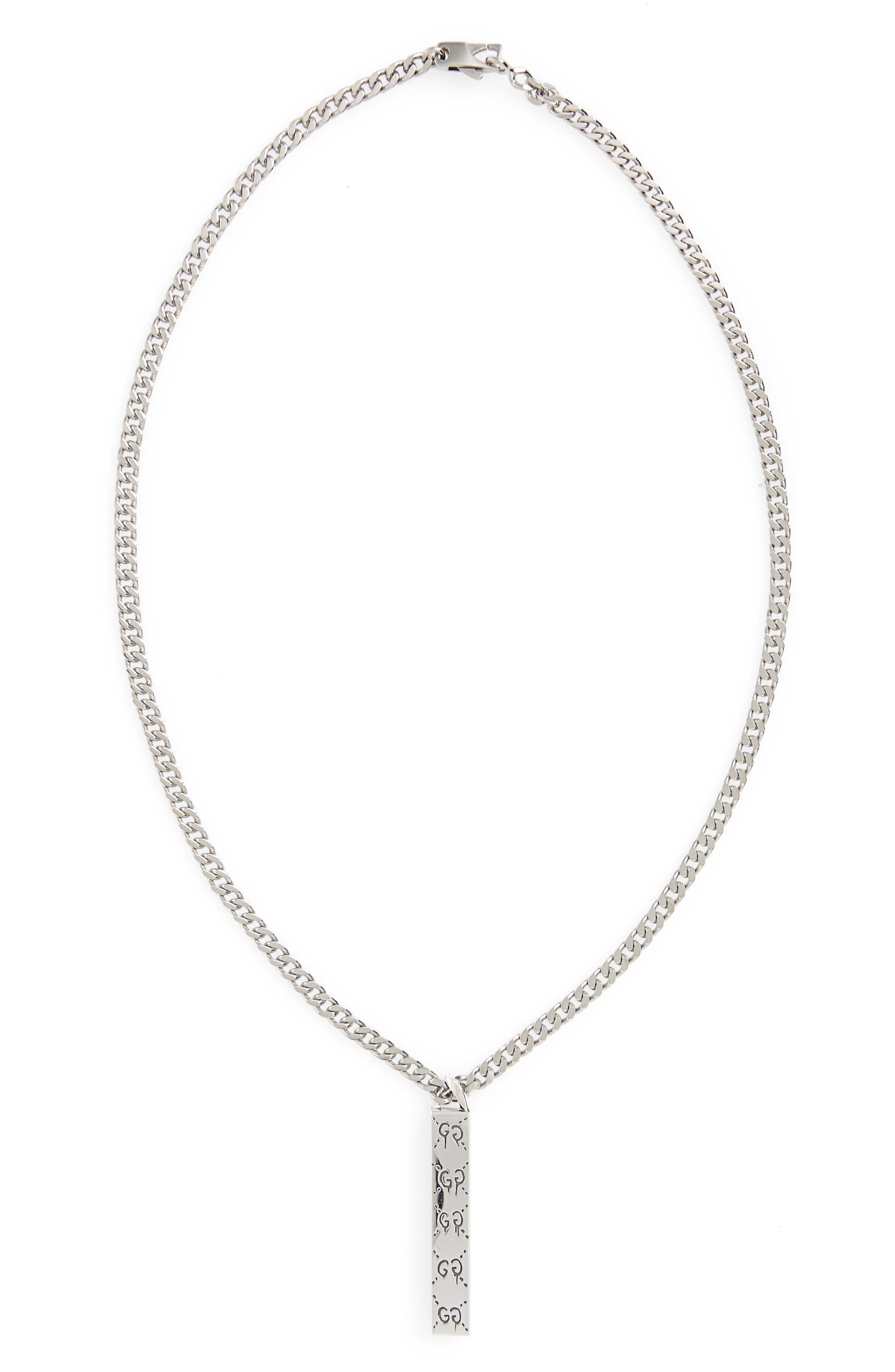 Ghost Motif Pendant Necklace, Main, color, 040