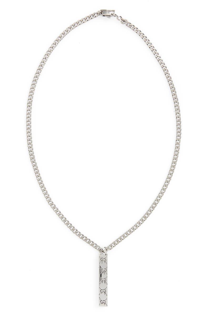 GUCCI Ghost Motif Pendant Necklace, Main, color, 040