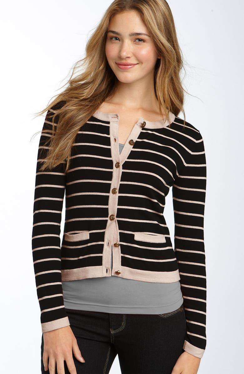 FRENCHI <sup>®</sup> Stripe Cardigan, Main, color, 001