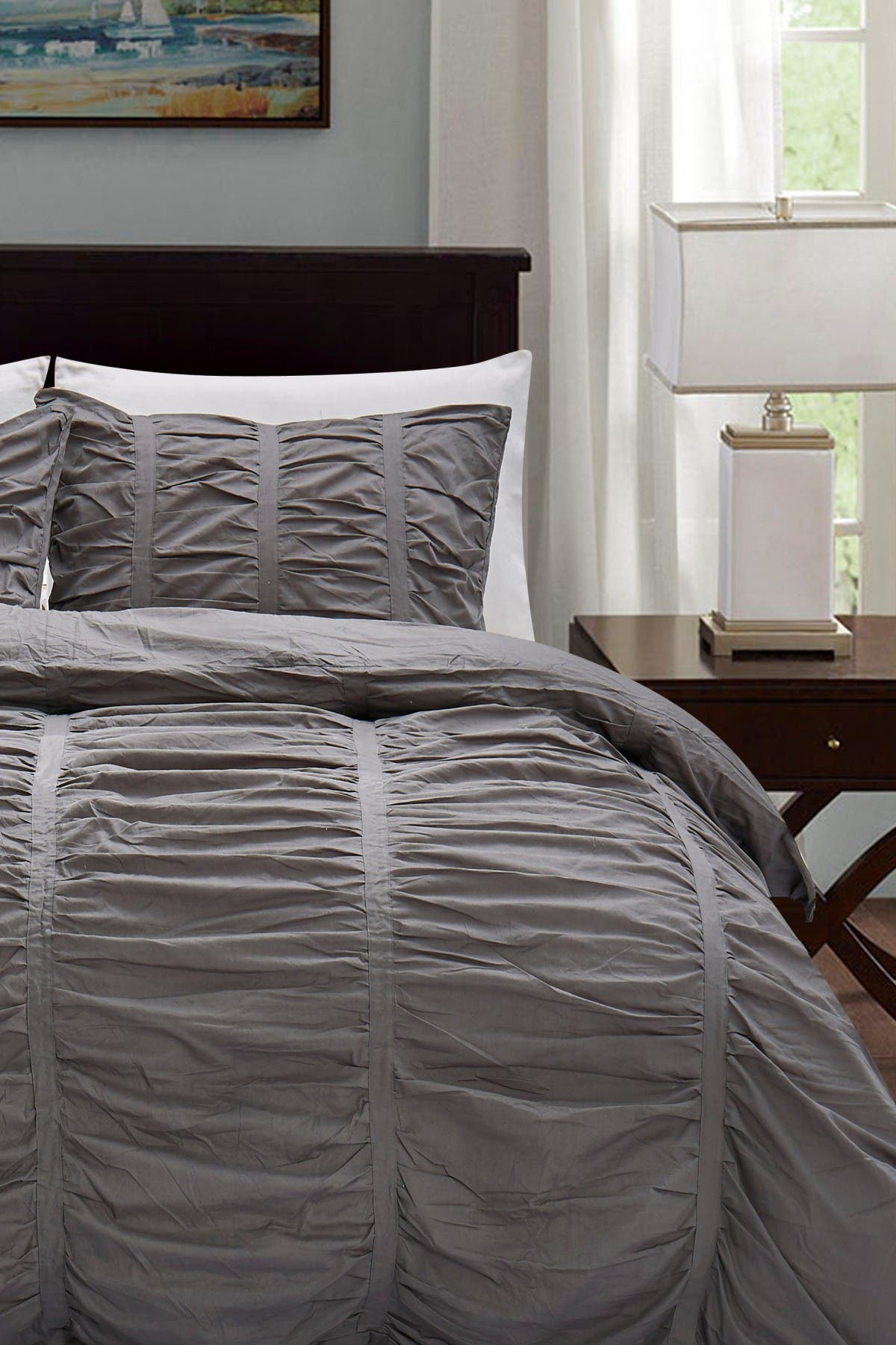 California Design Den King Ruched Gathered Comforter Set Charcoal Gray Nordstrom Rack