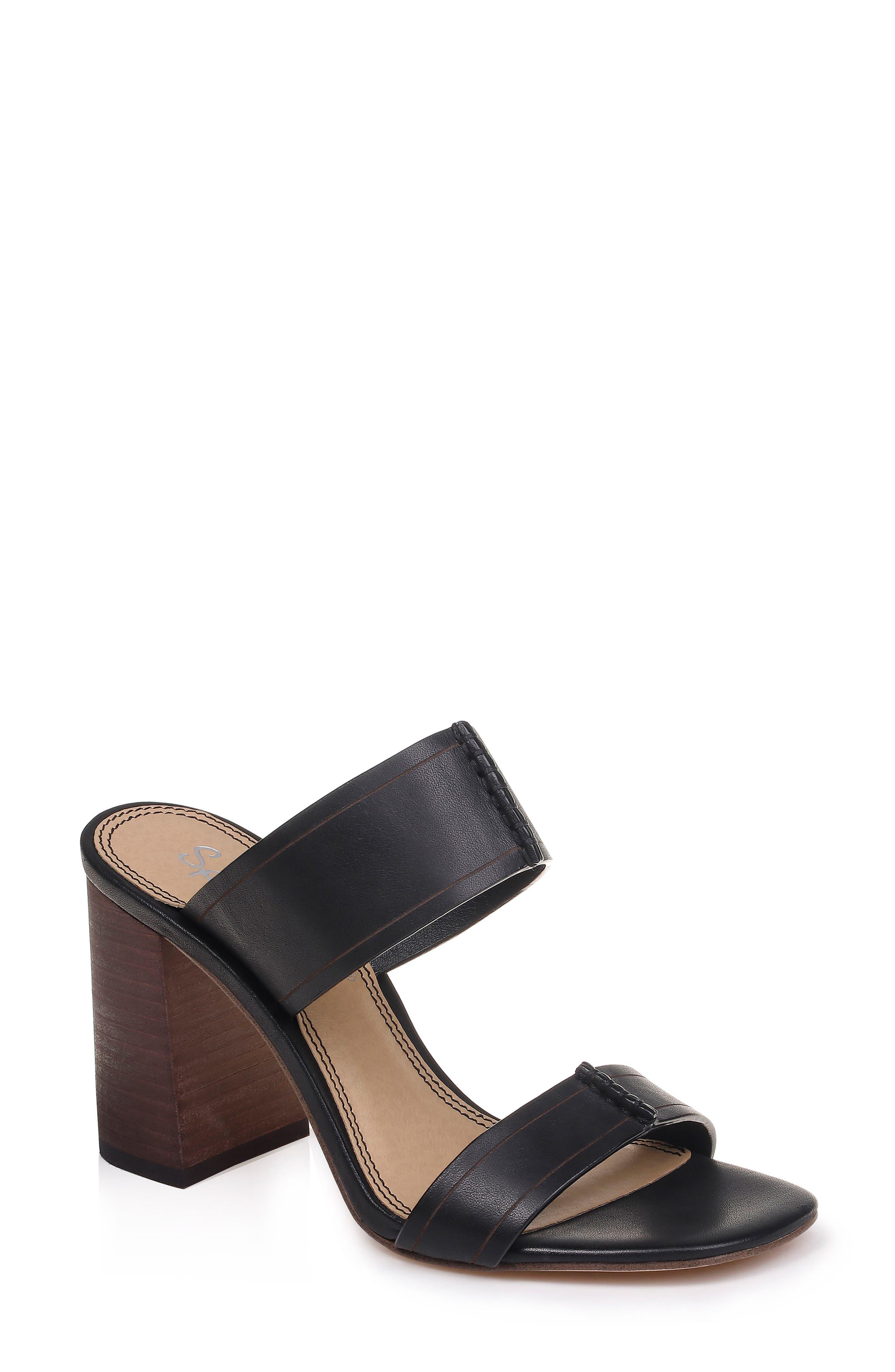 Tacy Slide Sandal, Main, color, BLACK LEATHER