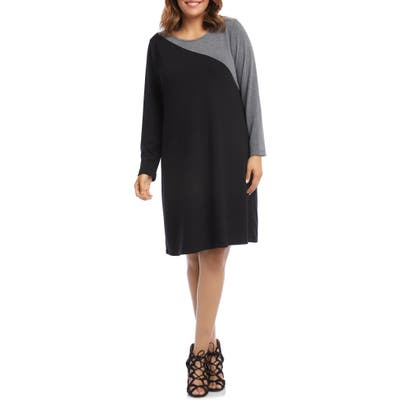 Plus Size Karen Kane Colorblock Long Sleeve Knit Dress, Black