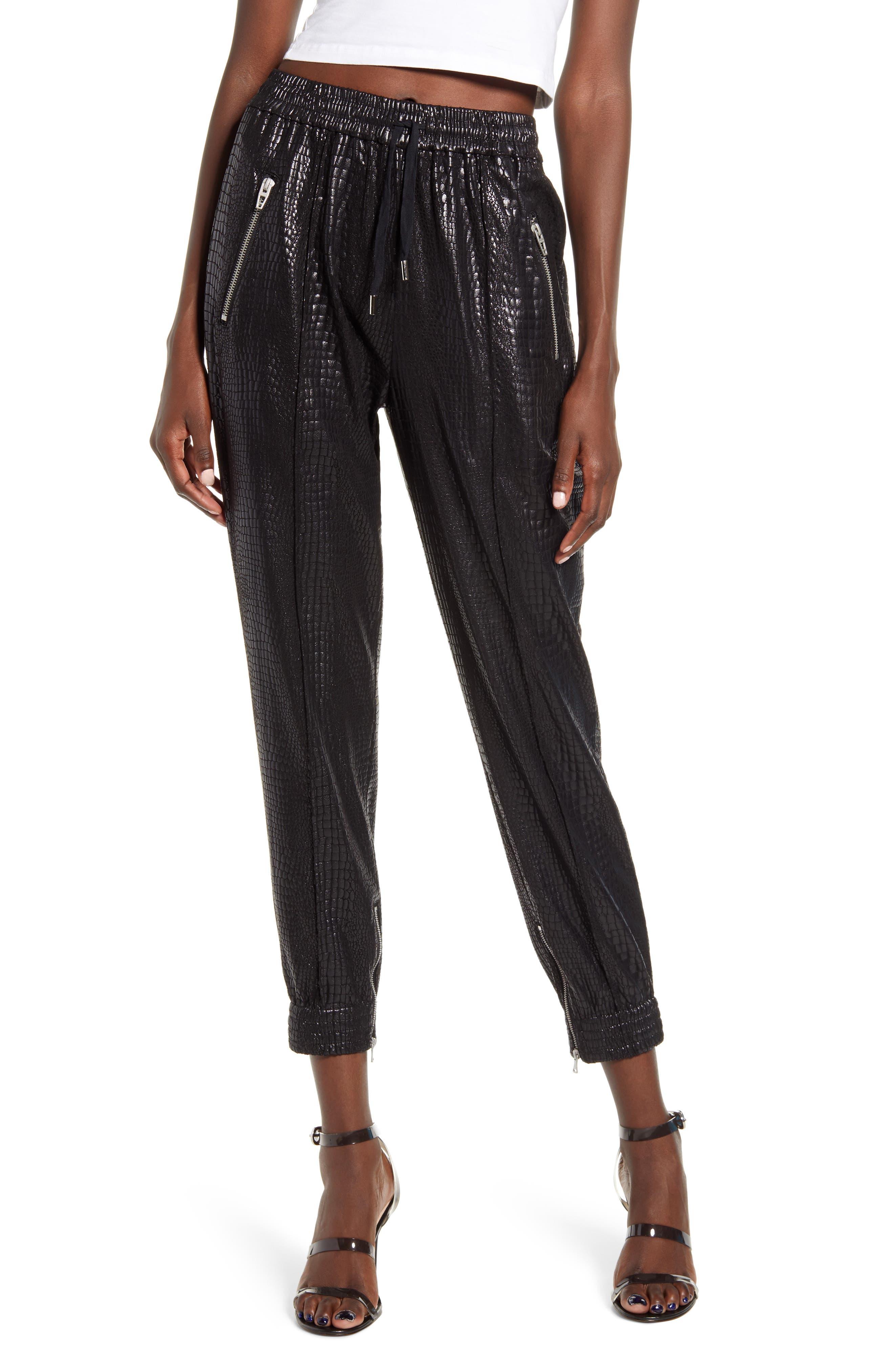 Women's Blanknyc Faux Leather Drape Front Pants,  26 - Black