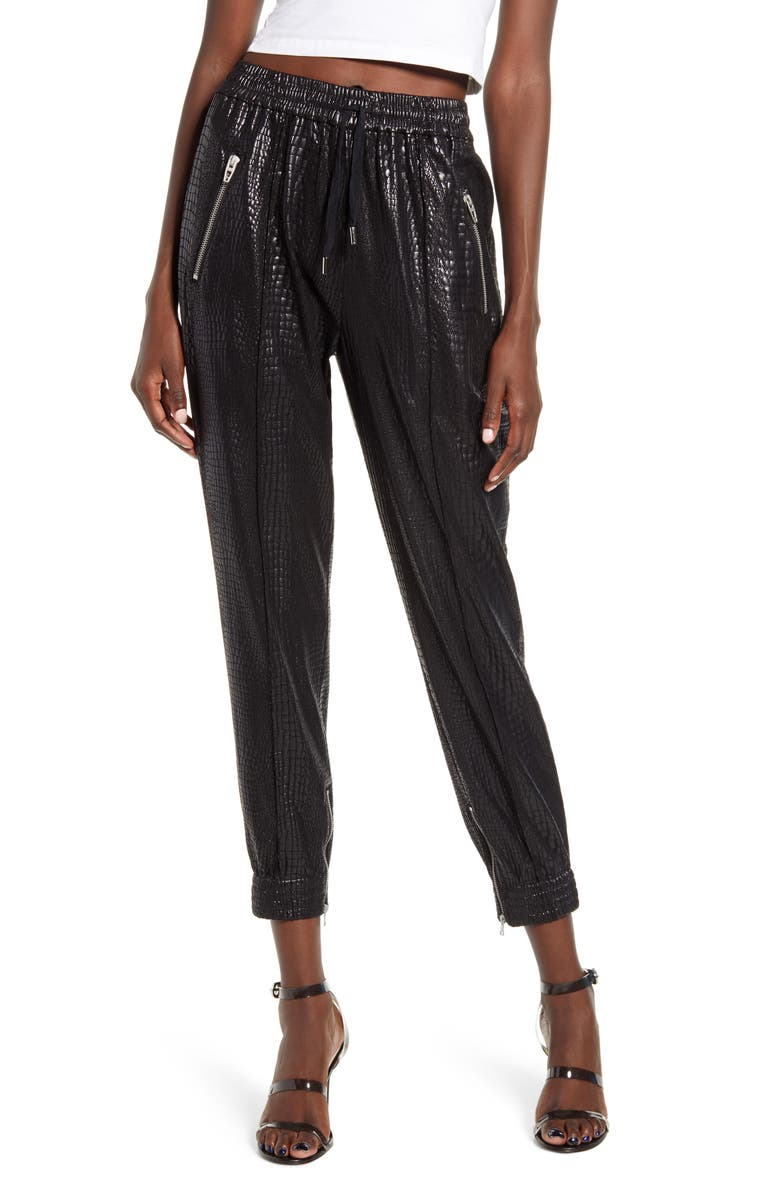 BLANKNYC Faux Leather Drape Front Pants, Main, color, IRON GIRL