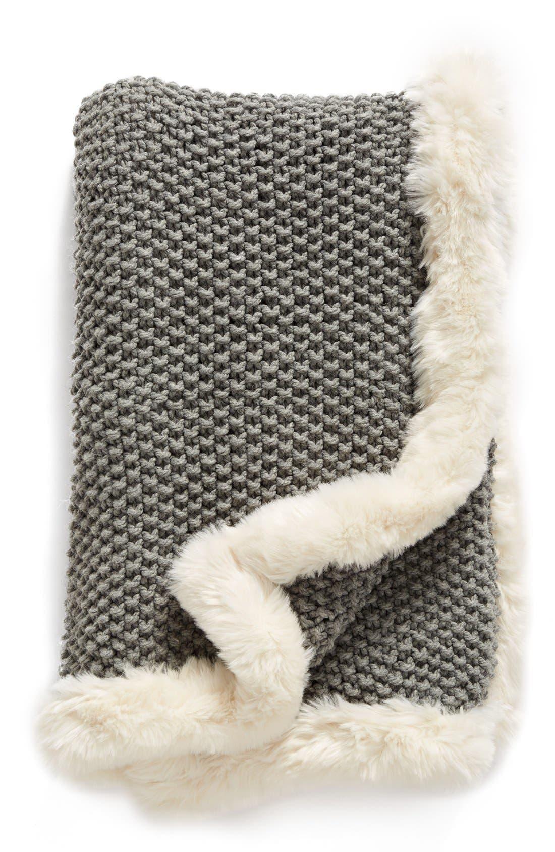 Faux Fur Border Knit Throw, Main, color, 020