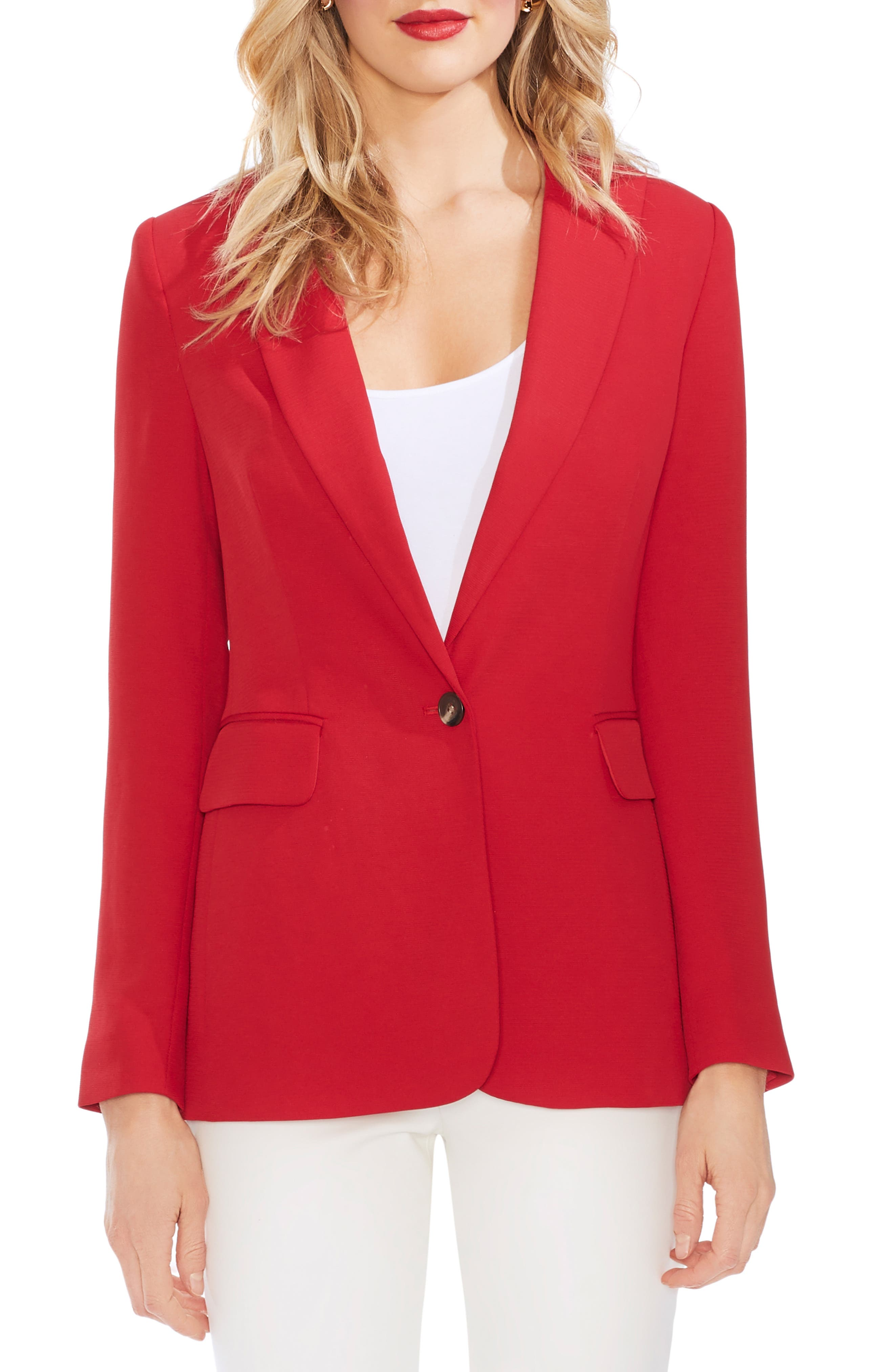 ,                             Peak Collar Single Button Piqué Blazer,                             Main thumbnail 1, color,                             CORAL SUNSET