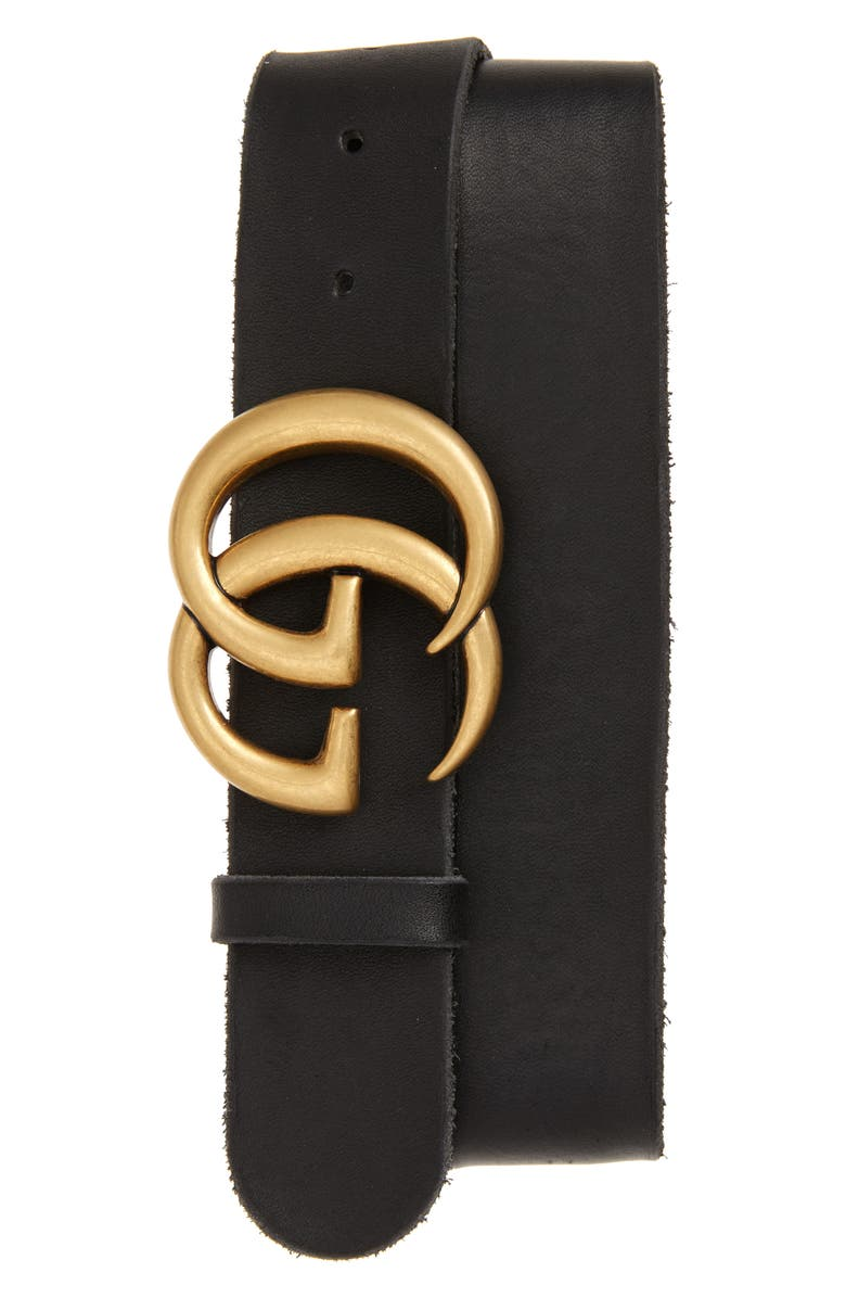 GUCCI Logo Leather Belt, Main, color, BLACK