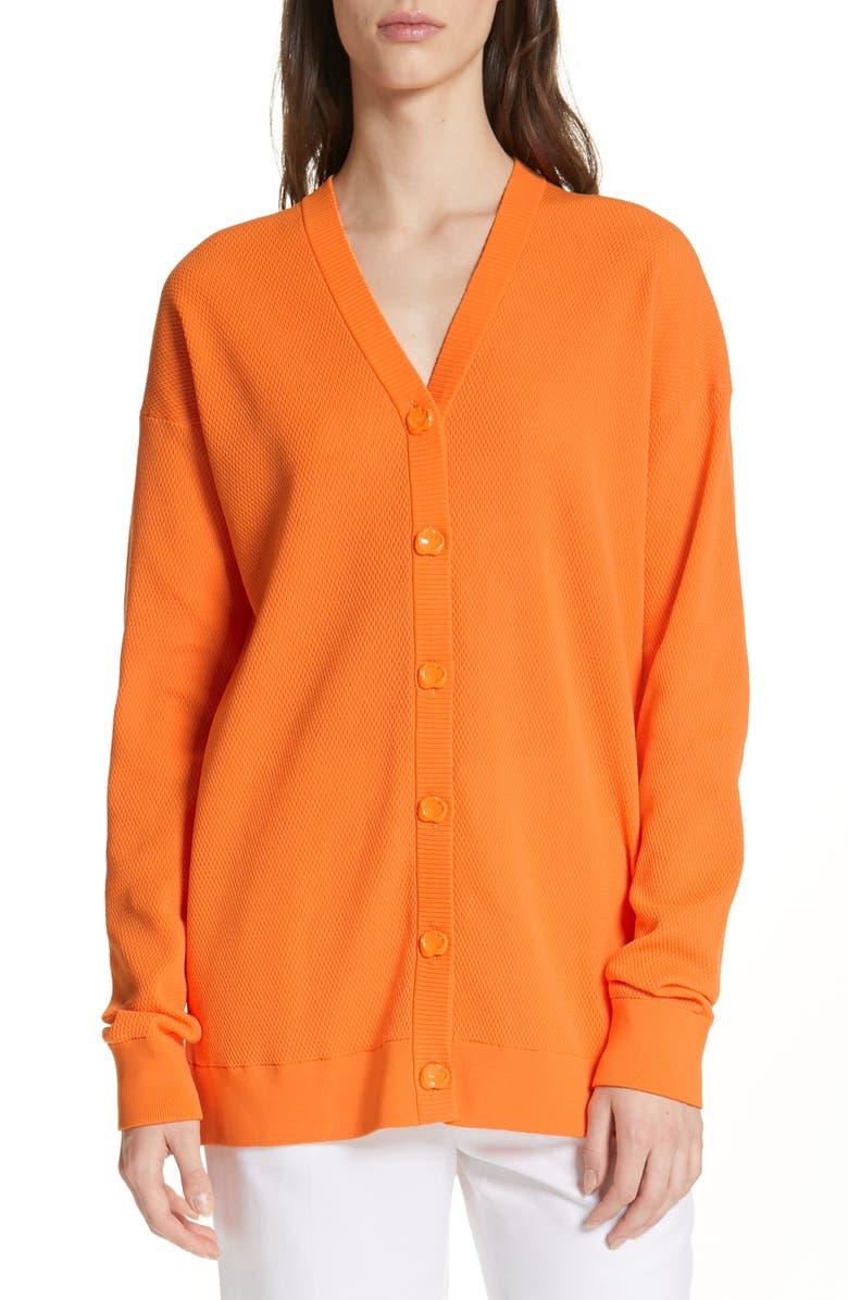 TIBI Lightweight Tech Cardigan, Main, color, TANGERINE