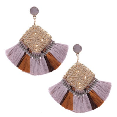 Nakamol Design Drusy Woven Fringe Earrings
