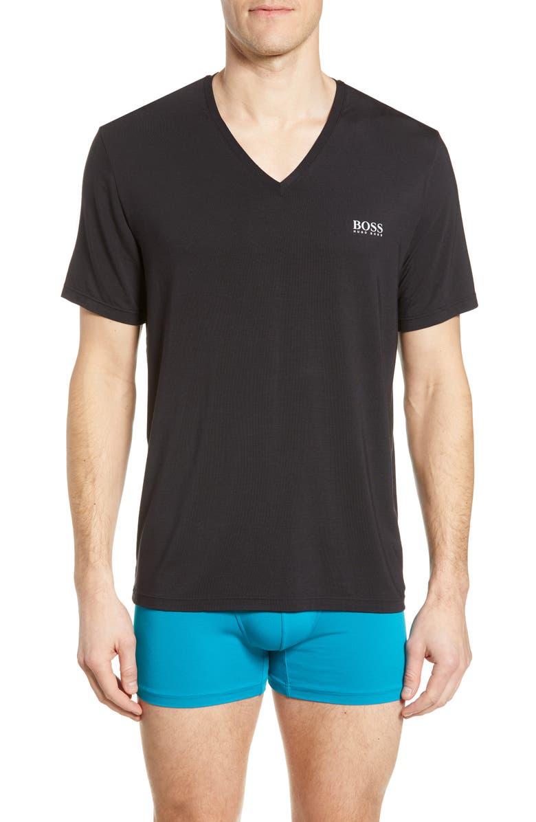 BOSS Regular Fit V-Neck T-Shirt, Main, color, BLACK