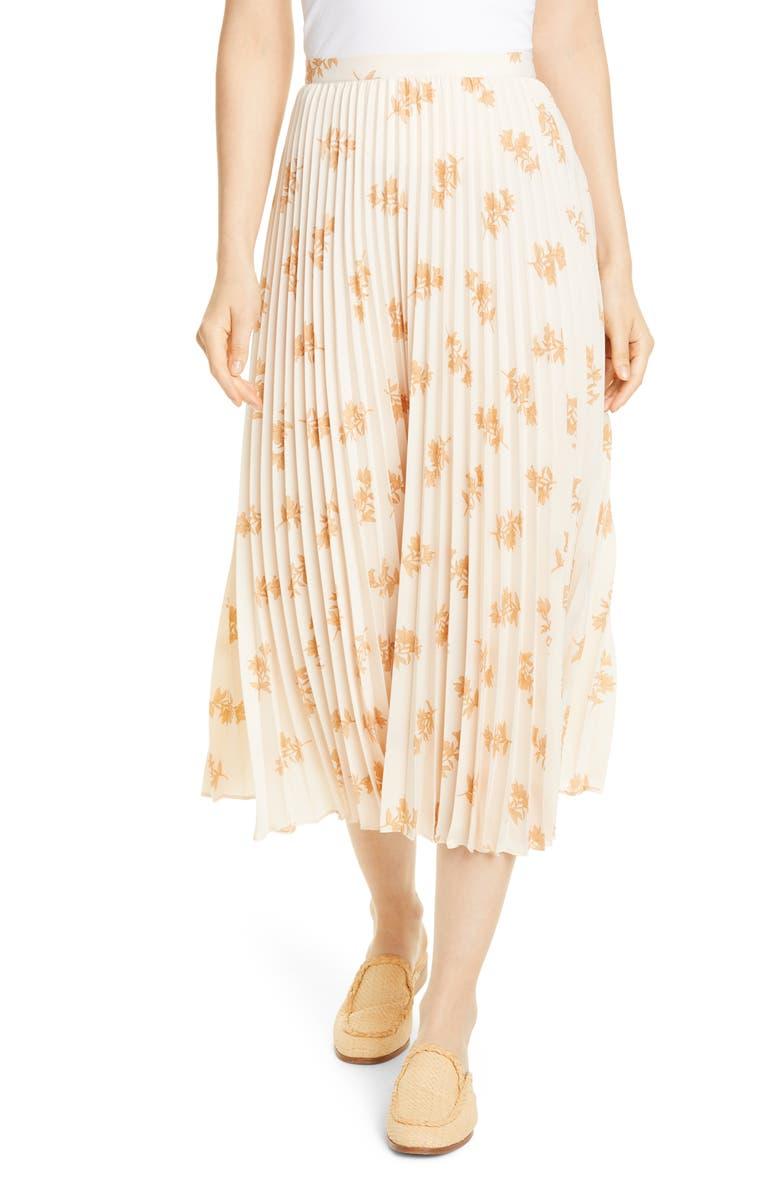 JOIE Adeena Floral Pleated Midi Skirt, Main, color, FRAPPE