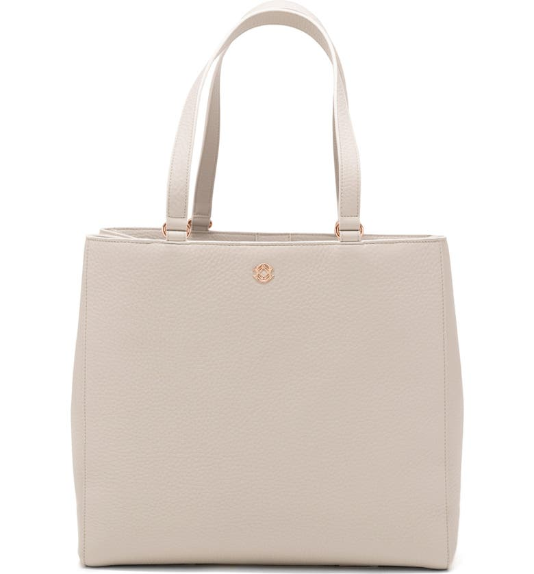 DAGNE DOVER Large Allyn Leather Tote, Main, color, BONE