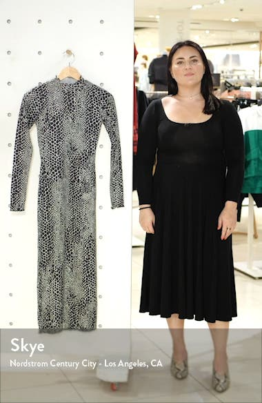 Cut And Sew Animal Print Long Sleeve Midi Dress, sales video thumbnail