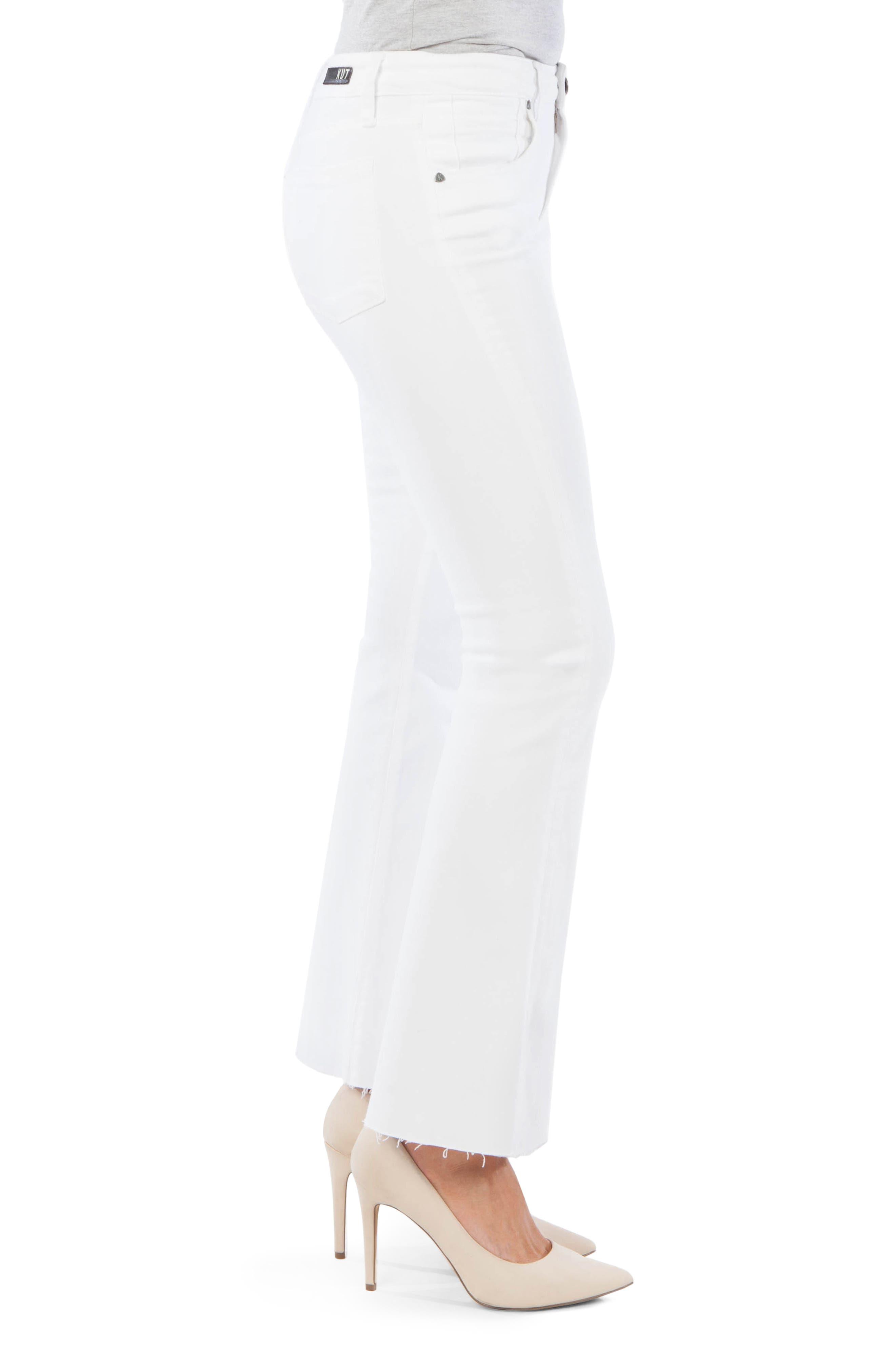 ,                             Stella Fray Hem Flare Jeans,                             Alternate thumbnail 3, color,                             OPTIC WHITE