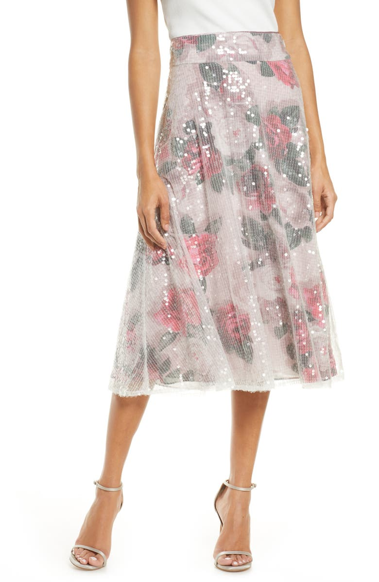 ELIZA J Sequin Floral Flared Skirt, Main, color, BLUSH