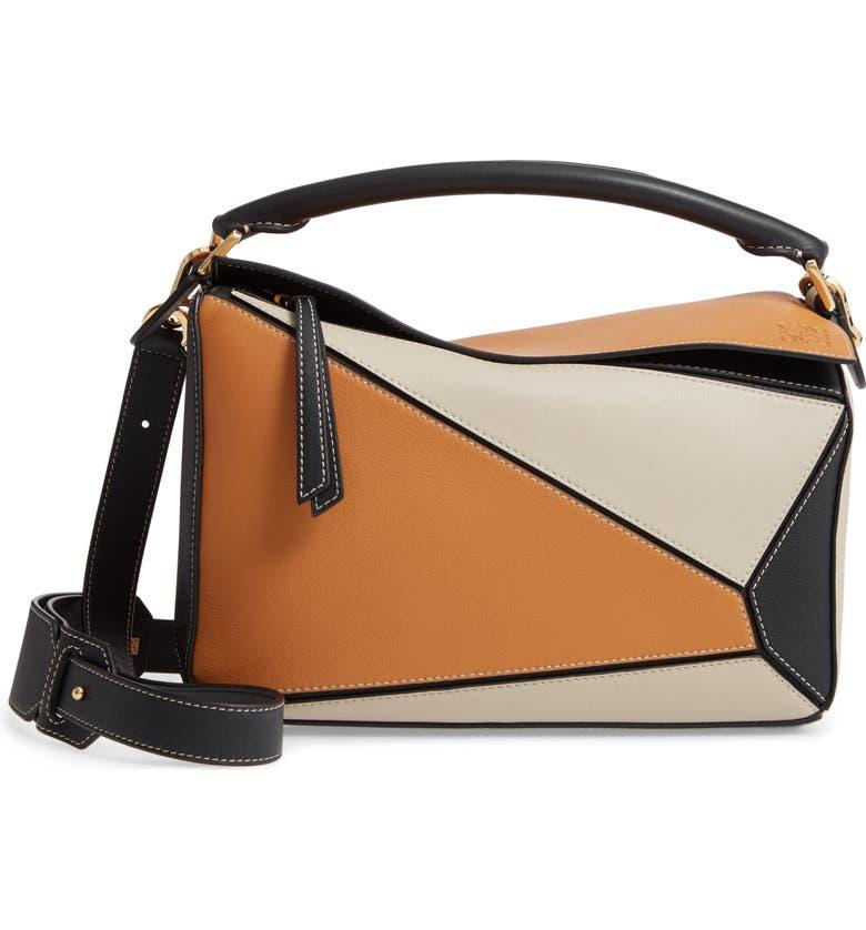 LOEWE Puzzle Calfskin Leather Shoulder Bag, Main, color, AMBER/ LIGHT OAT