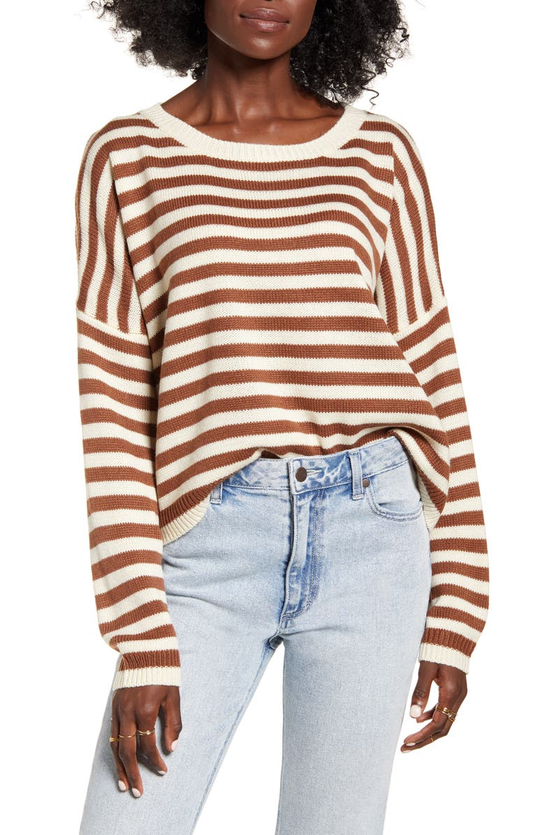DREAMERS BY DEBUT Stripe Sweater, Main, color, IVORY CAMEL