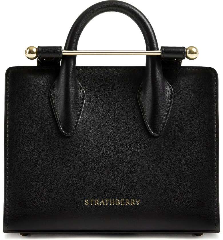 STRATHBERRY Nano Leather Tote, Main, color, BLACK