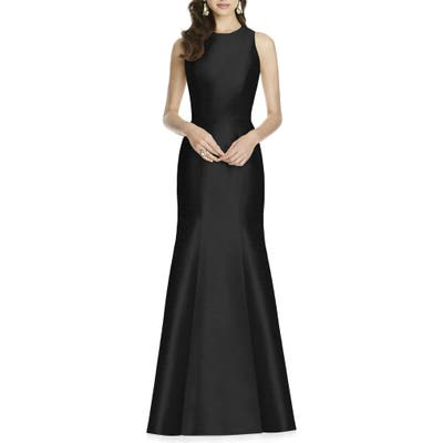 Plus Size Alfred Sung Dupioni Trumpet Gown, Black