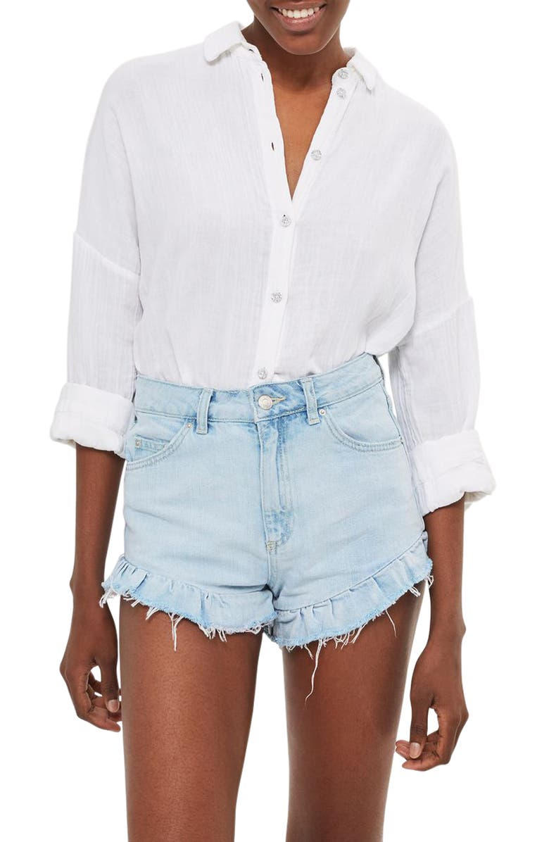 TOPSHOP Kiri Ruffle Hem Denim Shorts, Main, color, 420