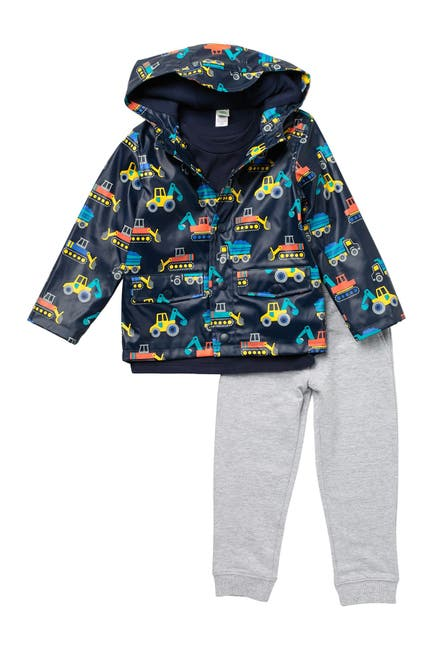 Image of Little Me Construction Print Jacket, Tee, & Joggers 3-Piece Set