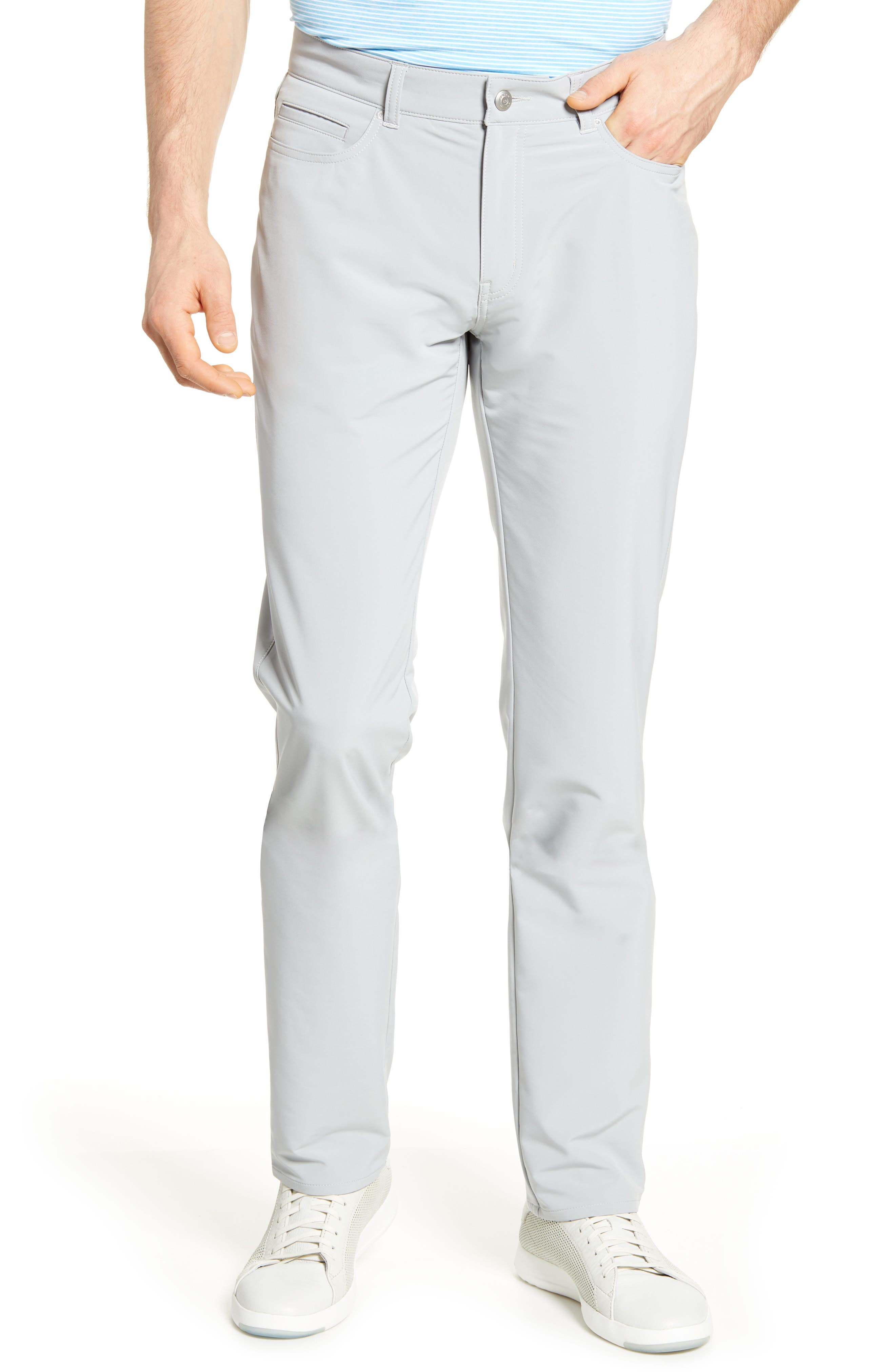 Achieve work-to-play perfection in these double-weave pants styled with movable stretch and slim legs. Style Name: Peter Millar Double Weave Stretch Trousers. Style Number: 6001272 2. Available in stores.